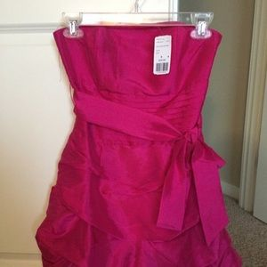 New Hot Pink Strapless Dress